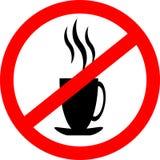 Het pictogram van het verbodsteken Geen drank hete koffie of thee Stock Afbeeldingen