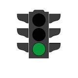 Het pictogram van het verkeerslichtsignaal Stock Foto