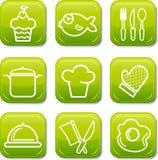 Het pictogram van het voedsel knoopt glanzende reeks dicht Stock Afbeelding