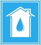Het pictogram van het water met huis en daling in frame Royalty-vrije Stock Fotografie