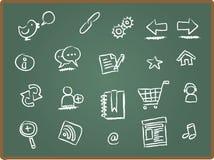 Het pictogram van het Web op schoolbord 1 Royalty-vrije Stock Afbeelding