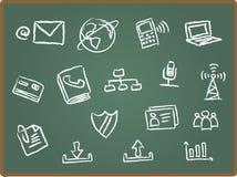 Het pictogram van het Web op schoolbord 2 Stock Foto's