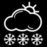 Het pictogram van het Web Zon, wolken en sneeuw Vectordiepictogram op zwarte wordt geïsoleerd vector illustratie
