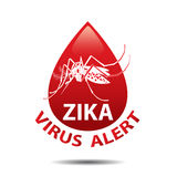 Het pictogram van het Zikavirus mug Het viruspictogram van babyzika Uitbarstings Waakzaam Concept Stock Foto's