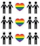 Het pictogram van homoseksueelbruidegoms met regenboogelement wordt geplaatst 1 die Stock Afbeeldingen