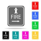Het pictogram van het hydrantpunt De multi gekleurde pictogrammen van elementenbrandbestrijders voor mobiel concept en Web apps P royalty-vrije illustratie