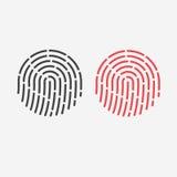 Het pictogram van identiteitskaart app Vingerafdruk voor identificatie Vlakke lijn vectorillustratie Stock Foto