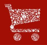Het pictogram van Kerstmis dat in boodschappenwagentjevorm wordt geplaatst Stock Afbeelding