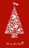 Het pictogram van Kerstmis dat in boomvorm wordt geplaatst met ster Royalty-vrije Stock Afbeelding