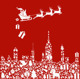 Het pictogram van Kerstmis dat in stadsvorm wordt geplaatst met Kerstman Stock Afbeeldingen