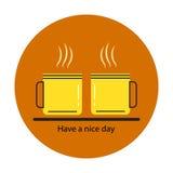 Het pictogram van koffiekoppen Concept: een goede dag Stock Afbeeldingen