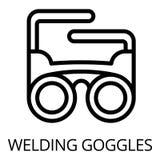 Het pictogram van lassenbeschermende brillen, overzichtsstijl vector illustratie