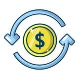 Het pictogram van het omloopgeld, beeldverhaalstijl Royalty-vrije Stock Fotografie