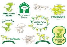 Het Pictogram van het paddestoellandbouwbedrijf, Embleem en Vectorkenteken Stock Afbeelding