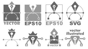 Het pictogram van het penhulpmiddel Bezierkromme, grafisch ontwerpsymbool Royalty-vrije Stock Fotografie