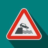 Het pictogram van Riverbankverkeersteken, vlakke stijl Stock Foto