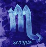 Het pictogram van Schorpioen van dierenriem, vectorillustratiepictogram astrologische tekens, beeld van horoscoop Water-kleur sti Stock Foto
