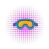 Het pictogram van skibeschermende brillen, strippaginastijl vector illustratie