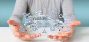 Het pictogram van Smartcar van de mensenholding rond het automobiele 3d teruggeven Royalty-vrije Stock Foto