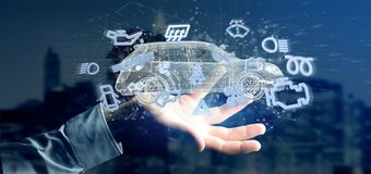 Het pictogram van Smartcar van de mensenholding rond het automobiele 3d teruggeven Royalty-vrije Stock Afbeeldingen