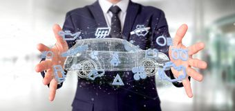 Het pictogram van Smartcar van de mensenholding rond het automobiele 3d teruggeven Stock Foto