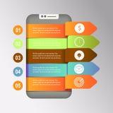 Het pictogram van Smartphone 3D infographic ontwerp malplaatje en marketing pictogrammen Vector Illustratie