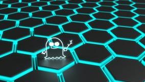 Het pictogram van het spookspook bovenop een zwart het gloeien hexagon net Royalty-vrije Stock Afbeeldingen