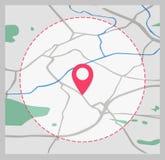 Het pictogram van toestellen Kaart van de stad Punt op de kaart Stock Fotografie