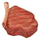 Het pictogram van het varkensvleeslapje vlees, beeldverhaalstijl stock illustratie