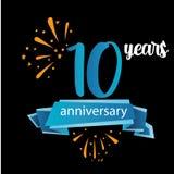 het pictogram van het 10 verjaardagspictogram, het embleemetiket van de jarenverjaardag Vector illustratie Ge?soleerd op zwarte a vector illustratie
