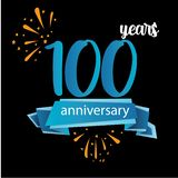het pictogram van het 100 verjaardagspictogram, het embleemetiket van de jarenverjaardag Vector illustratie Ge?soleerd op zwarte  royalty-vrije illustratie