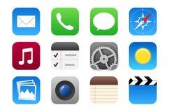Het pictogram van verschillende media dat voor mobiele telefoons en websites wordt geplaatst Stock Afbeeldingen