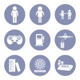 Het pictogram vastgesteld pictogram van levensstijlmensen voor presentatie binnen Royalty-vrije Stock Fotografie