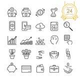 Het pictogram vastgestelde elementen van de financiënlijn van bankbiljet, muntstuk, creditcard, uitwisseling en geld ter beschikk vector illustratie
