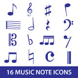 Het pictogram vastgestelde eps10 van de muzieknota Stock Afbeeldingen