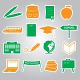 Het pictogram vastgestelde eps10 van schoolstickers Royalty-vrije Stock Foto's