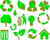 Het pictogram vastgestelde groen van Eco Royalty-vrije Stock Fotografie