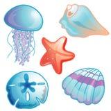 Het pictogram vastgestelde illustratie van het strand Stock Afbeeldingen
