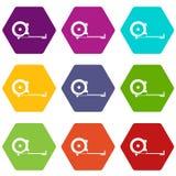 Het pictogram vastgestelde kleur van de bouwroulette hexahedron Stock Foto's