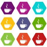 Het pictogram vastgestelde kleur van de glaskop thee hexahedron Royalty-vrije Stock Foto's