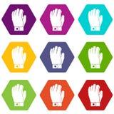 Het pictogram vastgestelde kleur van de hockeyhandschoen hexahedron Stock Foto