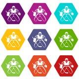 Het pictogram vastgestelde kleur van de hockeykeeper hexahedron Royalty-vrije Stock Foto's