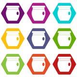 Het pictogram vastgestelde kleur van de honingsbank hexahedron Royalty-vrije Stock Foto's