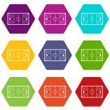 Het pictogram vastgestelde kleur van de ijshockeypiste hexahedron Royalty-vrije Stock Foto's