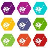 Het pictogram vastgestelde kleur van de roulettebouw hexahedron Royalty-vrije Stock Fotografie