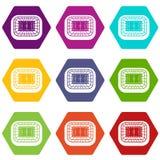 Het pictogram vastgestelde kleur van de stadion hoogste mening hexahedron Royalty-vrije Stock Foto's