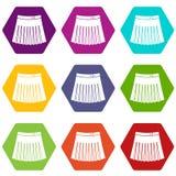 Het pictogram vastgestelde kleur van de tennis vrouwelijke rok hexahedron Stock Afbeeldingen