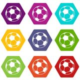 Het pictogram vastgestelde kleur van de voetbalbal hexahedron Royalty-vrije Stock Fotografie