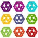 Het pictogram vastgestelde kleur van de voetbalbal hexahedron Royalty-vrije Stock Foto