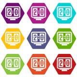 Het pictogram vastgestelde kleur van het voetbalscorebord hexahedron Royalty-vrije Stock Foto's